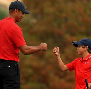 Charlie Woods and Tiger Woods